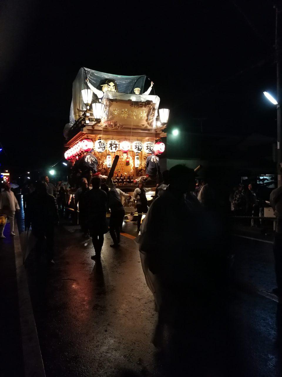 2018年佐原の大祭雨の中ビニールシート