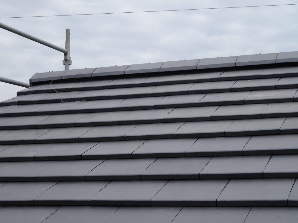 新築の屋根完成。稲敷